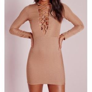 Ribbed Lace Up Front Bodycon Dress